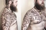 beserker half sleeve tattoo head tattoo viking