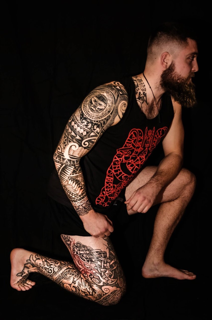 Nordic Viking tattoo by Sean Parry of Sacred Knot, T shirt by Northern Fire Designs