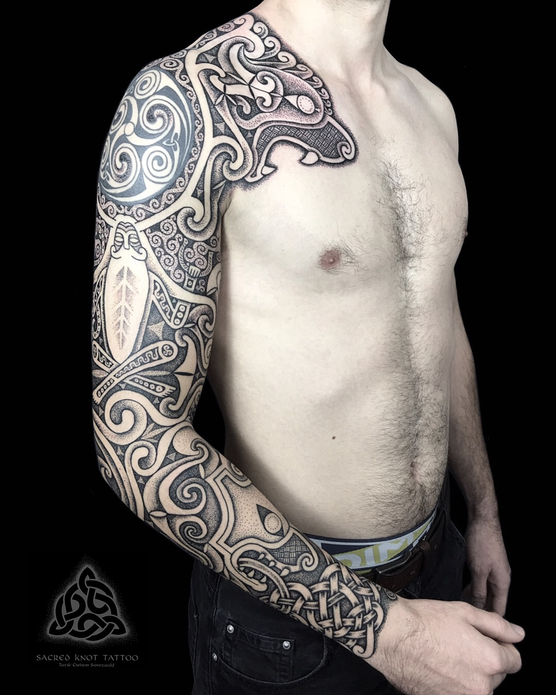 Sacred Knot celtic sleeve tattoo, Cerunnos